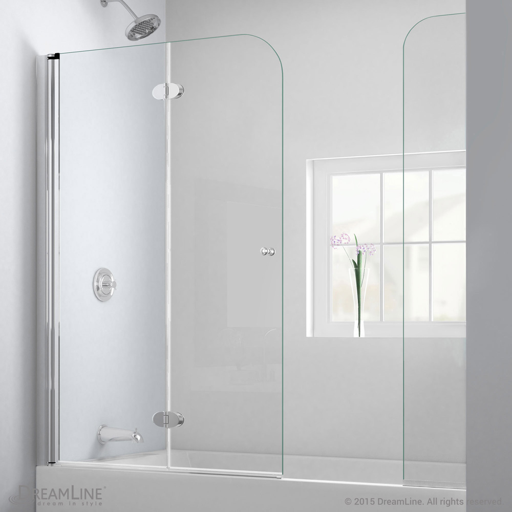Bath Authority Dreamline Aquafold Hinged Tub Door 56 Quot 60 Quot With Extender Panel Chrome Finish
