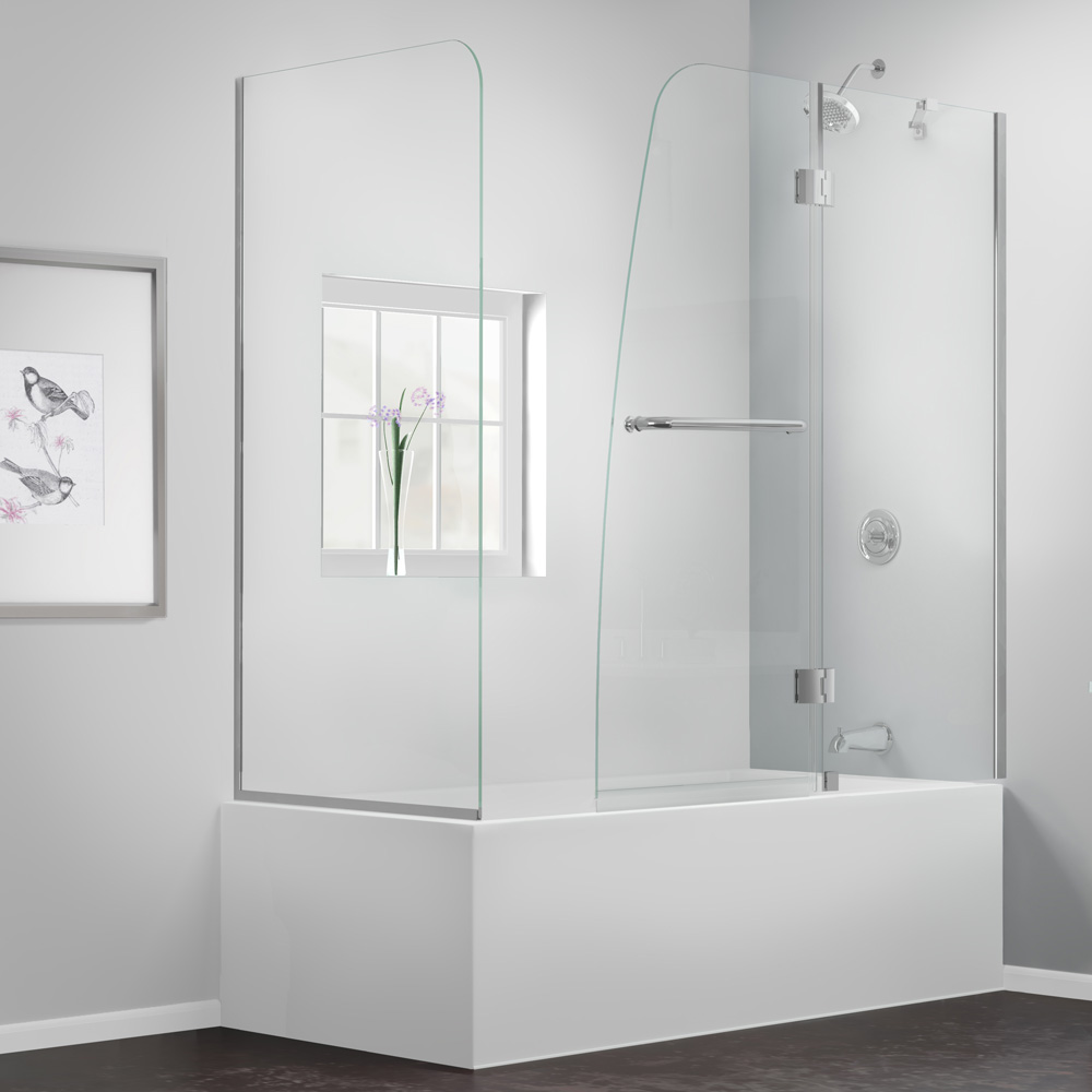 Bath Authority Dreamline Aqua Frameless Hinged Tub Door 56 60 With Return Panel Free