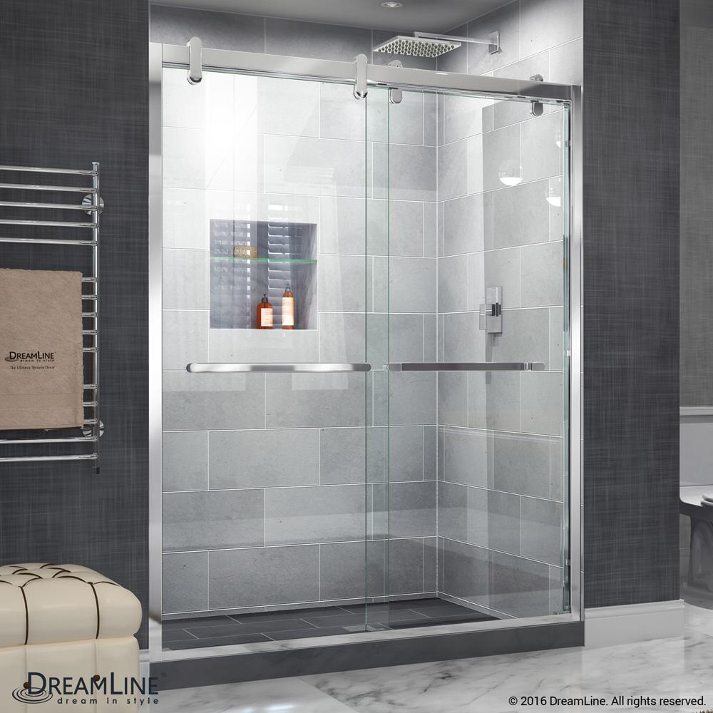 . Bath Authority DreamLine Cavalier 56   60 in  W x 76 in  H Sliding Shower  Door   Polished Stainless Steel