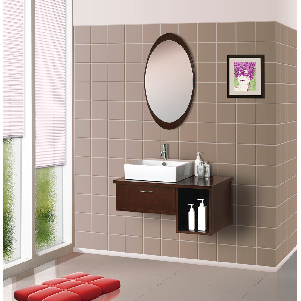 Bath Authority Dreamline Wall Mounted Modern Bathroom Vanity With Porcelain Sink And Mirror