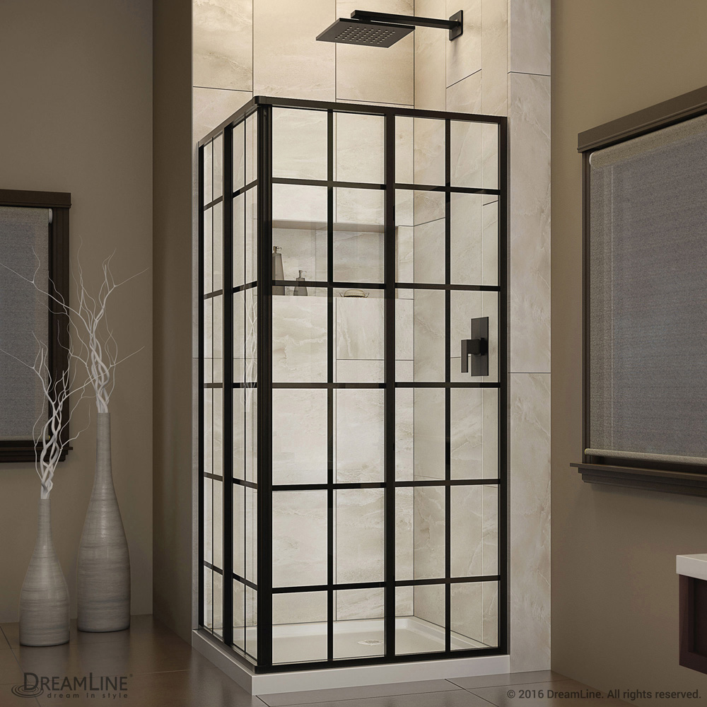 Bath Authority DreamLine French Corner 34-1/2 in. W x 34-1/2 in. D x 72 in. H Sliding Shower Enclosure SHEN-8134340-89 by Bath Authority DreamLine