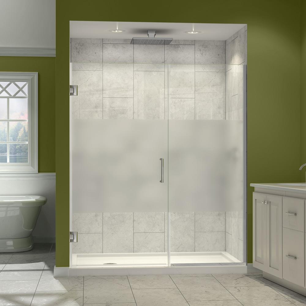Dreamline Unidoor Plus 53 61 W X 72 H Hinged Shower Door With Stationary Panel Half Frosted Glass Door Free Shipping Modern Bathroom