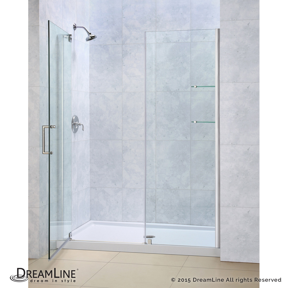 Bath Authority Dreamline Elegance Frameless Pivot Shower Door And Slimline Single Threshold Base 34 By 60