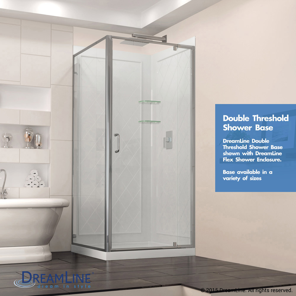 Bath Authority Dreamline Slimline Double Threshold Shower Base 36 By 48 Black Left Hand Drain