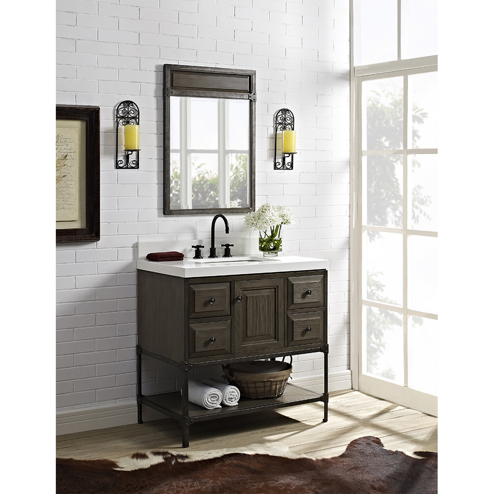 Fairmont Designs Toledo 36 Vanity With Doors For Quartz Top Driftwood Gray Free Shipping