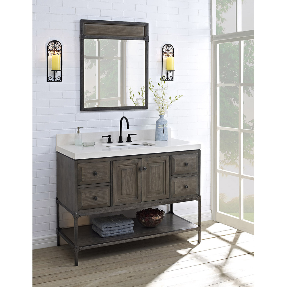 Fairmont Designs Toledo 48 Vanity With Doors For Quartz Top Driftwood Gray Free Shipping