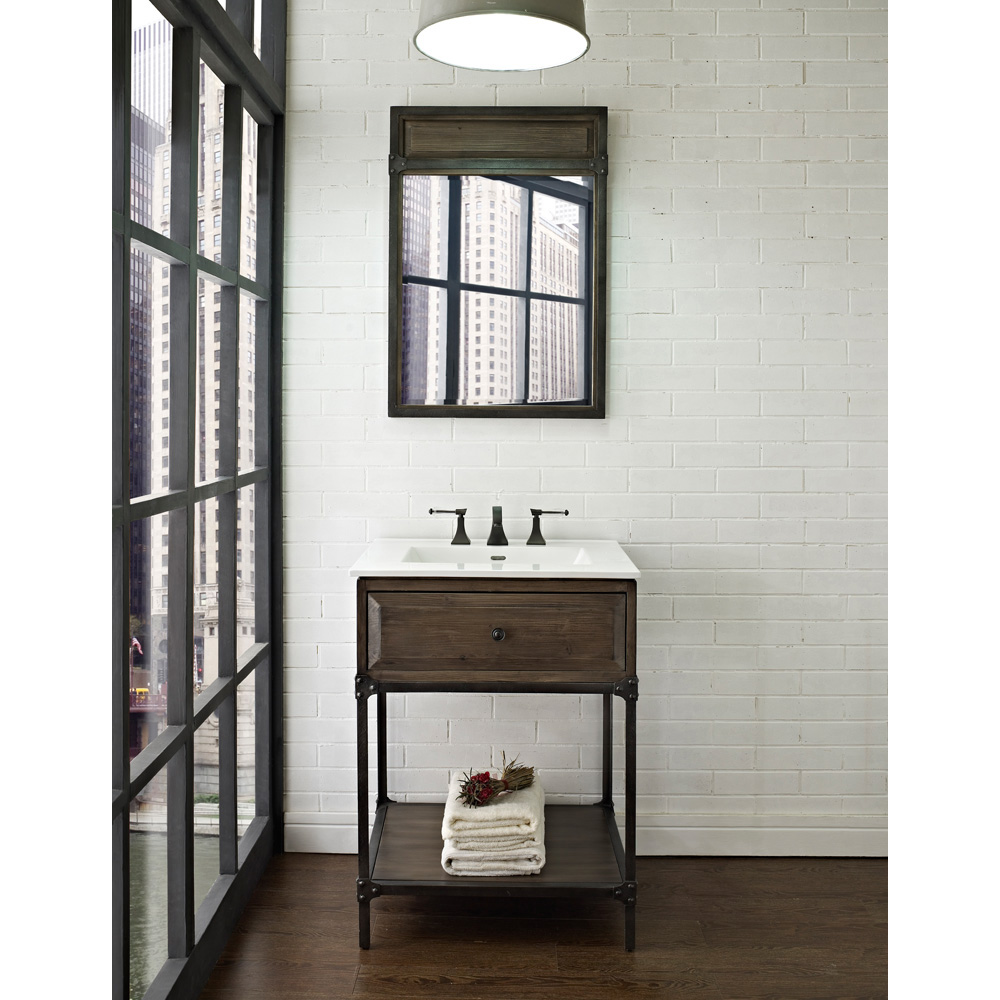 Fairmont designs 24 toledo open shelf vanity driftwood - Bathroom vanities for small bathrooms ...