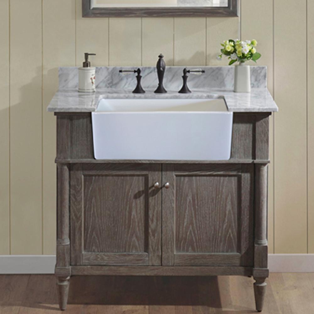 Fairmont Designs Rustic Chic 36 Quot Farmhouse Vanity Silvered Oak Free Shipping Modern Bathroom