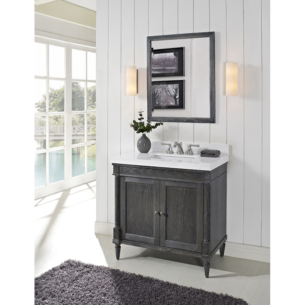 Fairmont designs rustic chic 36 vanity for quartz top silvered oak free shipping modern for 36 inch rustic bathroom vanity