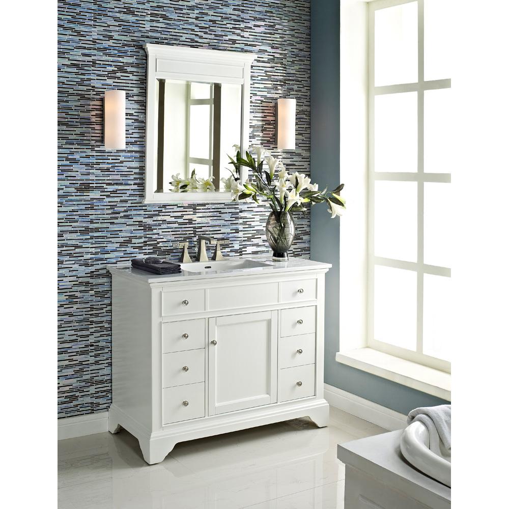 Fairmont designs framingham 42 vanity polar white free shipping modern bathroom for 42 inch vanities for bathrooms