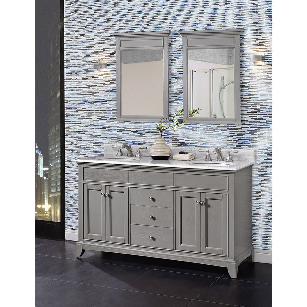 Fairmont Designs Smithfield 60 Double Bowl Vanity Medium Gray Free Shipping Modern Bathroom