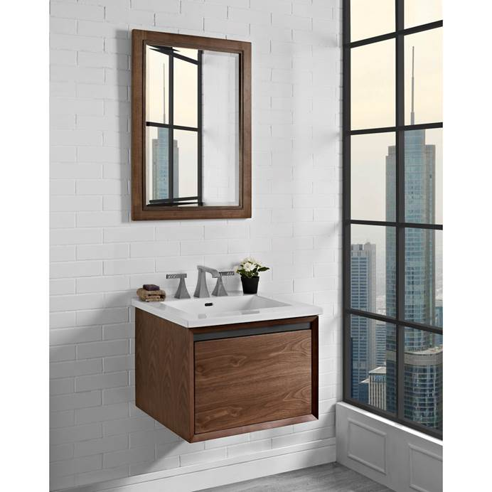 "Fairmont Designs M4 24"" Wall Mount Vanity for Integrated Sinktop - Natural Walnut 1505-WV24-"