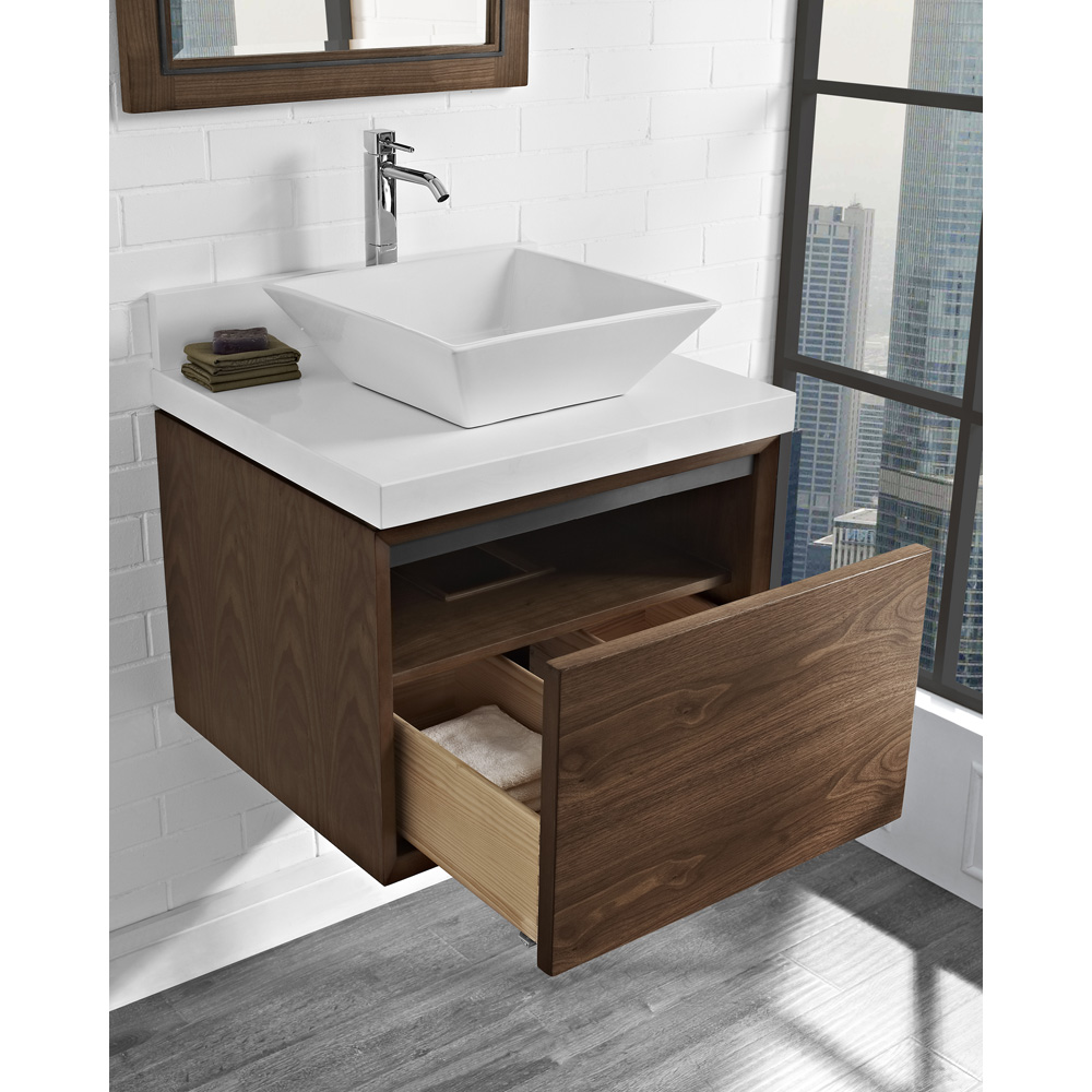 "Bathroom Vanity With Vessel Sink Mount: Fairmont Designs M4 24"" Wall Mount Vanity For Vessel Sink"