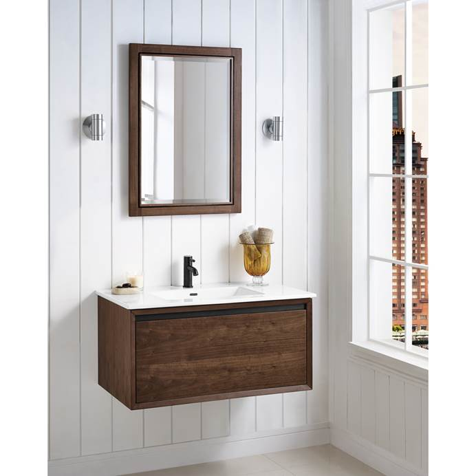 "Fairmont Designs M4 36"" Wall Mount Vanity for Integrated Sinktop - Natural Walnut 1505-WV36-"