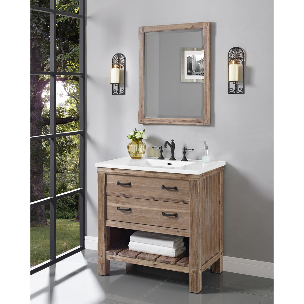 fairmont designs napa 36 open shelf vanity for integrated sinktop sonoma sand free shipping
