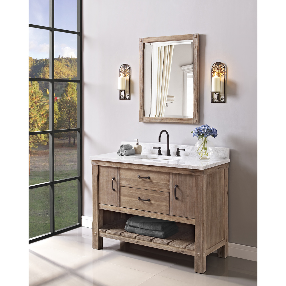 Fairmont designs napa 48 open shelf vanity sonoma sand for Vanity design plans