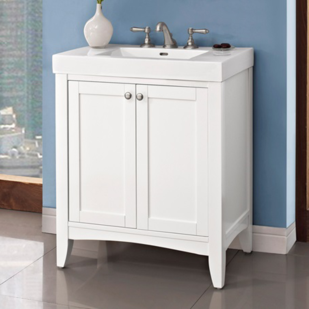 Fairmont designs shaker americana 30 vanity polar white for Modern white bathroom vanity
