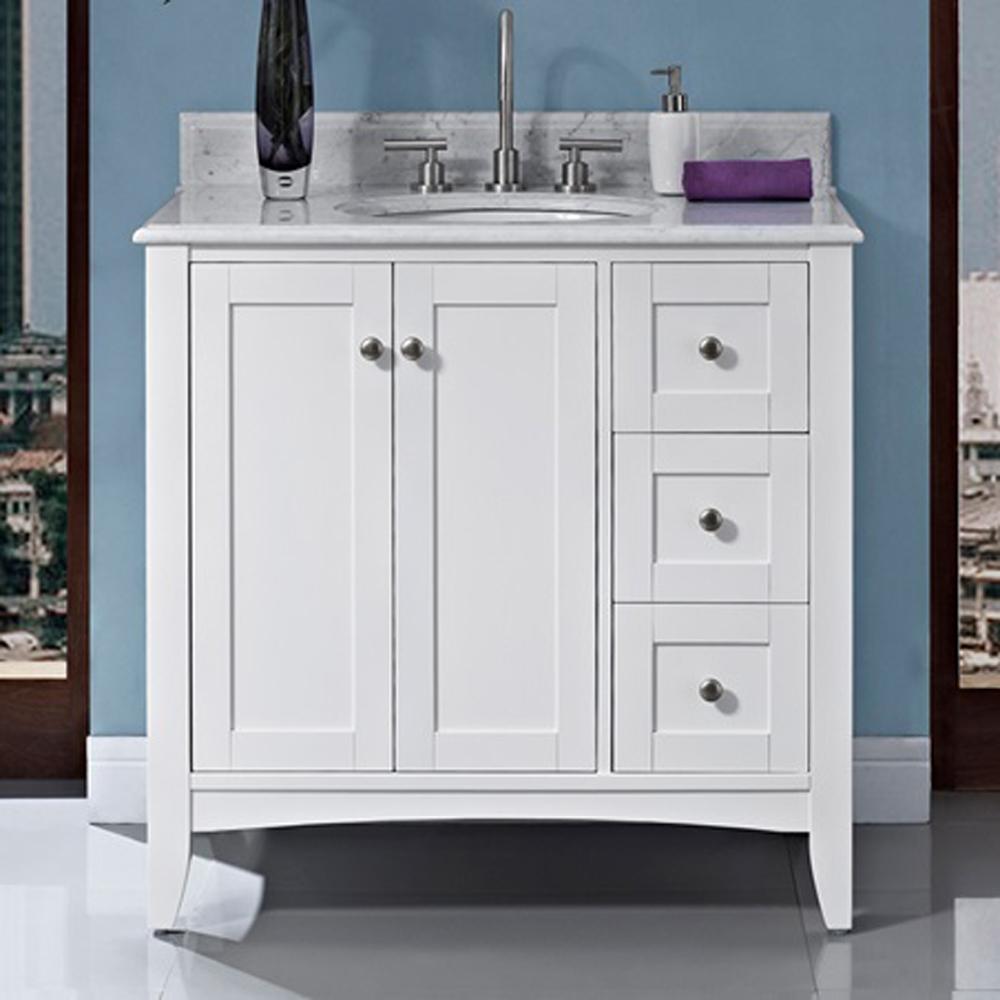 Fairmont Designs Shaker Americana 36 Quot Vanity Drawer Right Polar White Free Shipping Modern