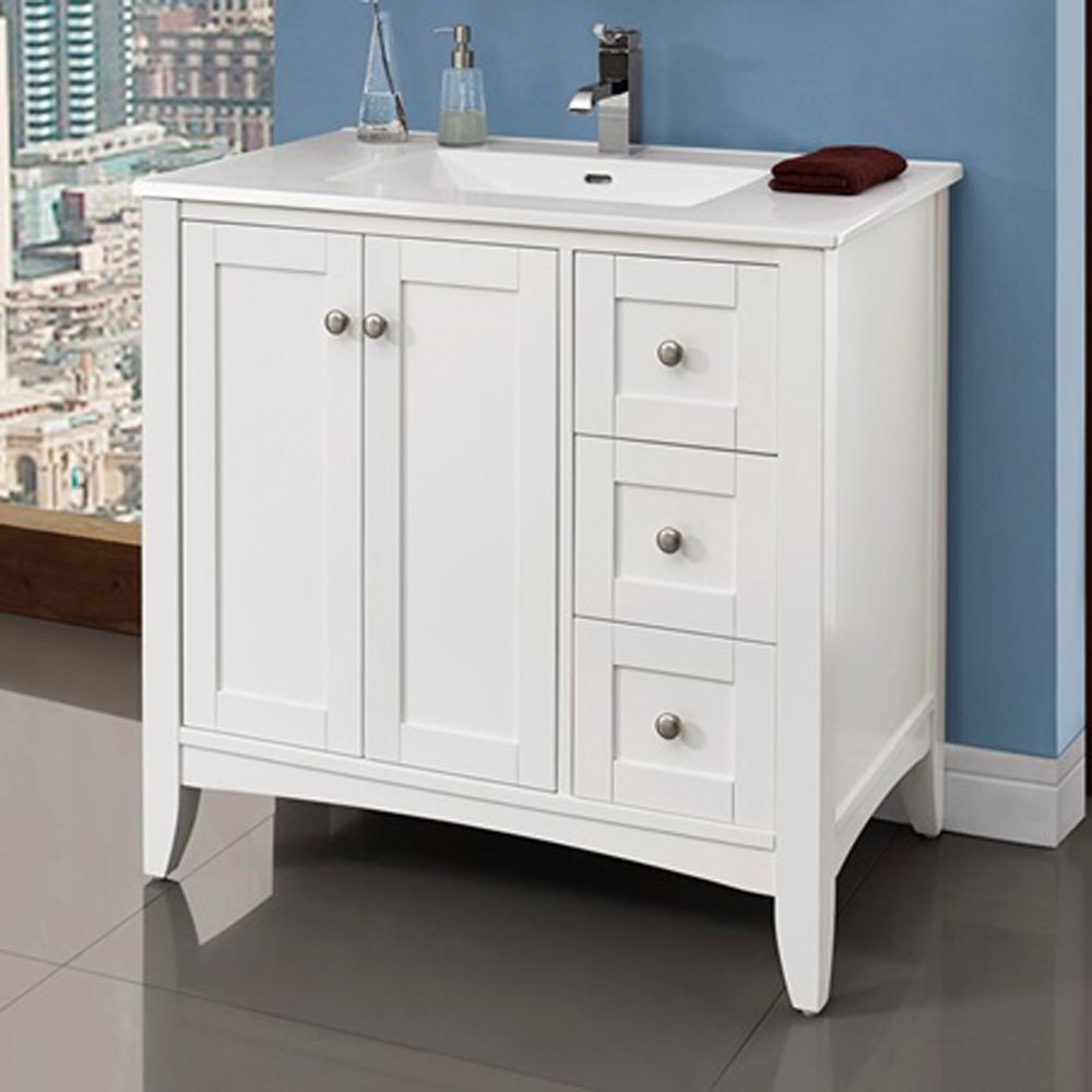 Fairmont Designs Shaker Americana 36 Vanity Drawer Right For Integrated Top Polar White