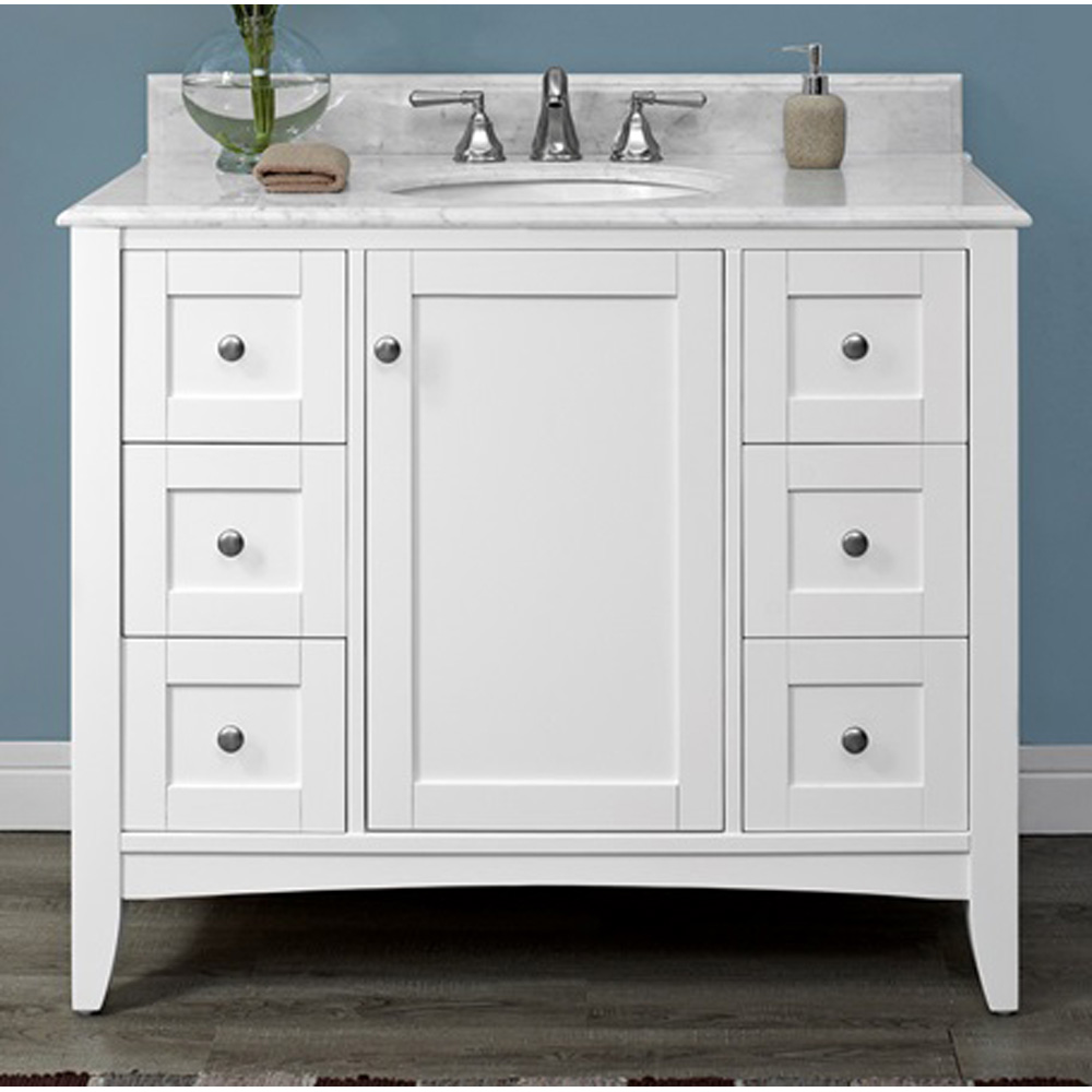 Fairmont designs shaker americana 42 vanity polar white free shipping modern bathroom Design bathroom vanity cabinets
