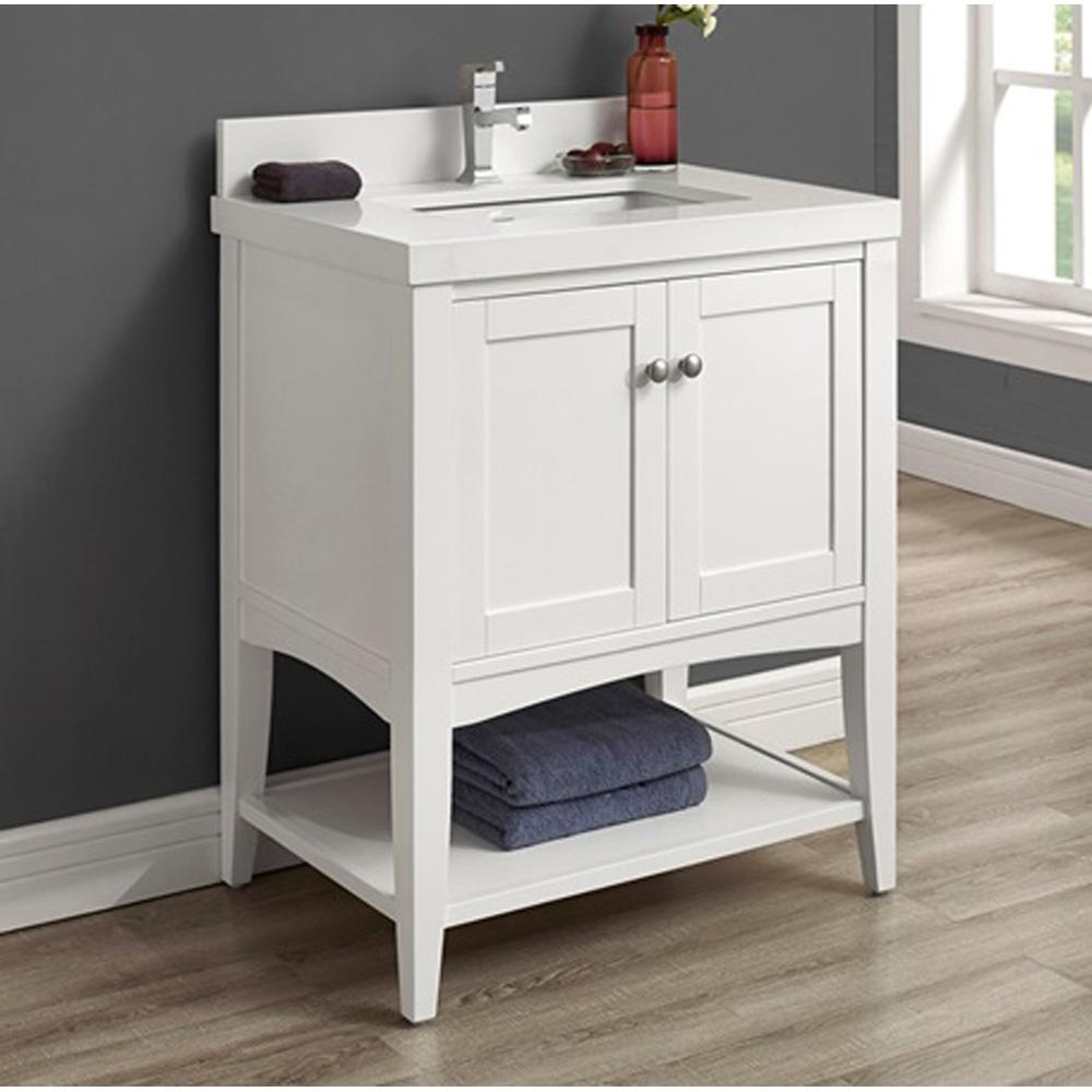 Fairmont Designs Shaker Americana 30 Vanity Open Shelf For Quartz Top Polar White Free