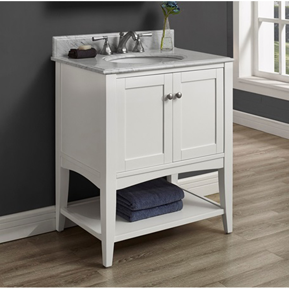 Fairmont Designs Shaker Americana 30 Vanity Open Shelf Polar White Free Shipping Modern