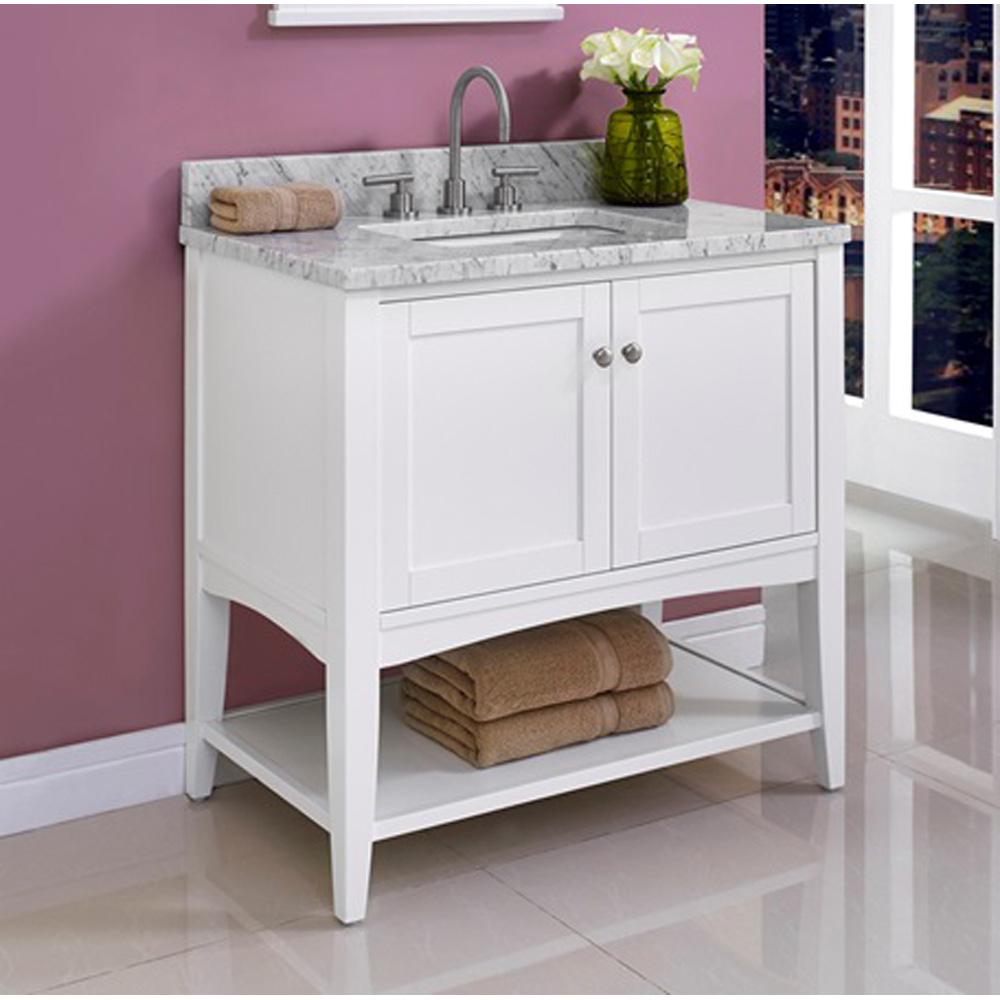 Fairmont Designs Shaker Americana 36 Vanity Open Shelf For 1 1 4 Thick Top Polar White