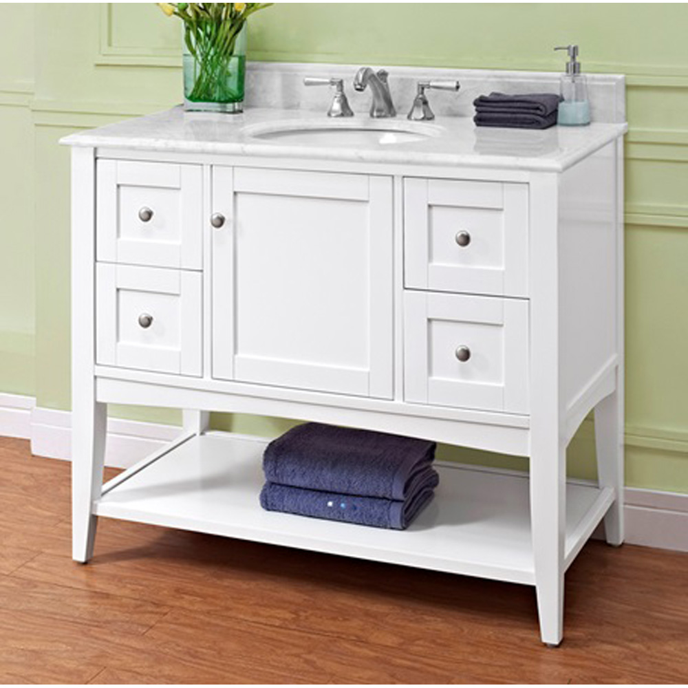 Fairmont Designs Shaker Americana 42 Vanity Open Shelf Polar White Free Shipping Modern