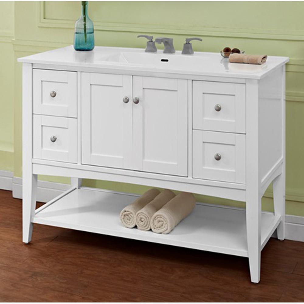 Fairmont Designs Shaker Americana 48 Vanity Open Shelf For Integrated Top Polar White