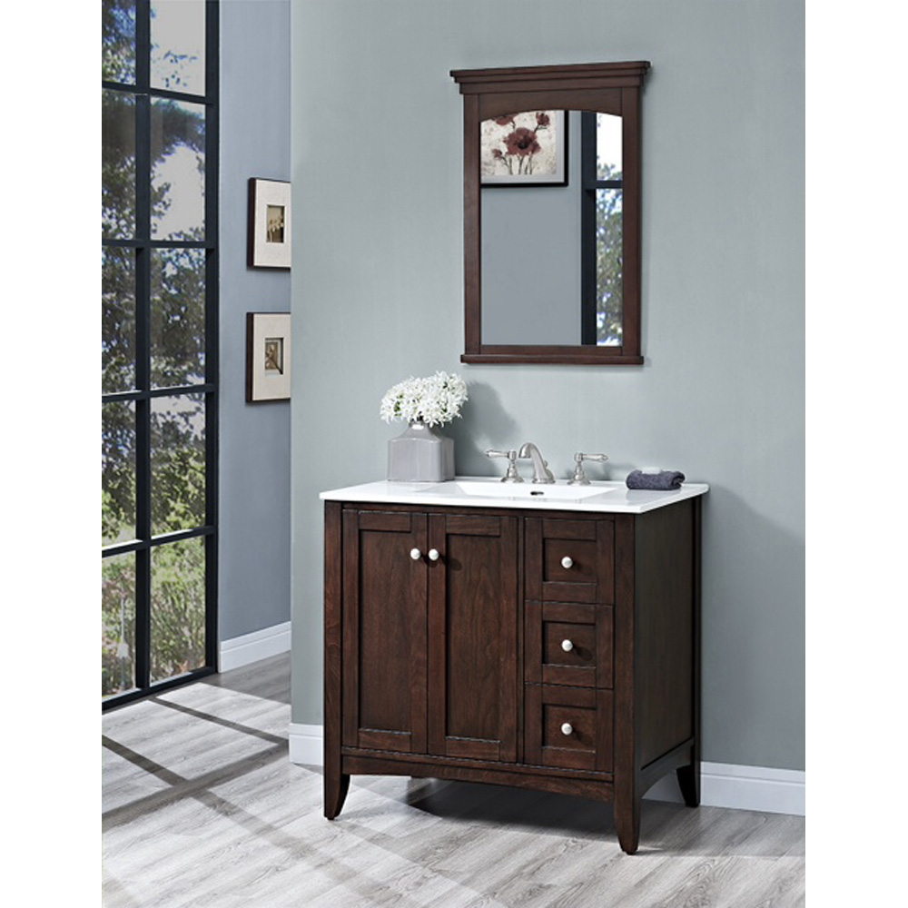 Fairmont Designs Shaker Americana 36 Quot Vanity Drawer Right For Integrated Top Habana Cherry