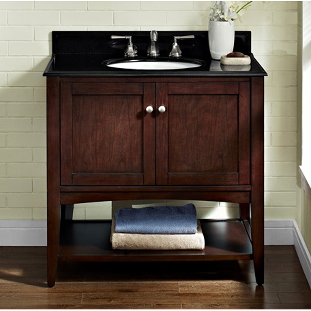 Fairmont Designs Shaker Americana 36 Quot Vanity Open Shelf Habana Cherry Free Shipping