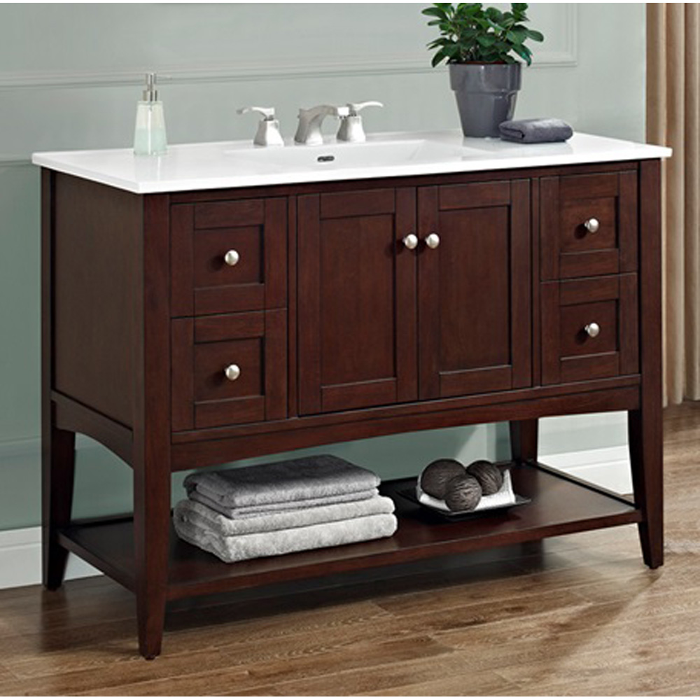 open bathroom vanity cabinet fairmont designs shaker americana 48 quot vanity open shelf 19804