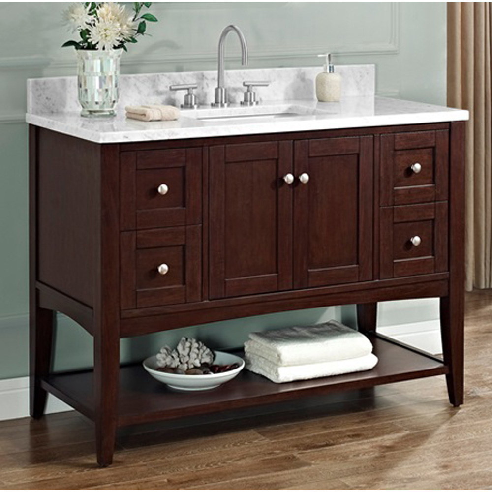 Fairmont Designs Shaker Americana 48 Vanity Open Shelf For 1 1 4 Thick Top Habana Cherry