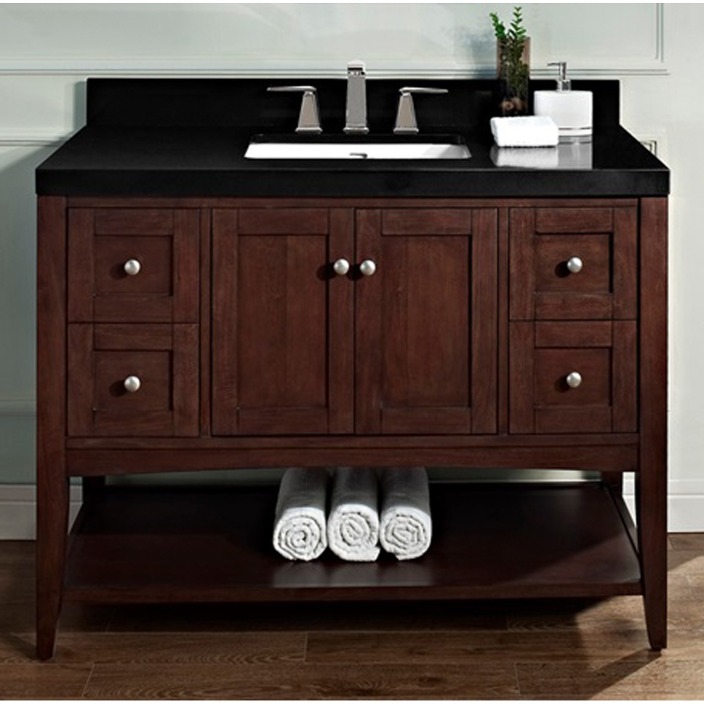 Fairmont Designs Shaker Americana 48 Quot Vanity Open Shelf For Quartz Top Habana Cherry Free