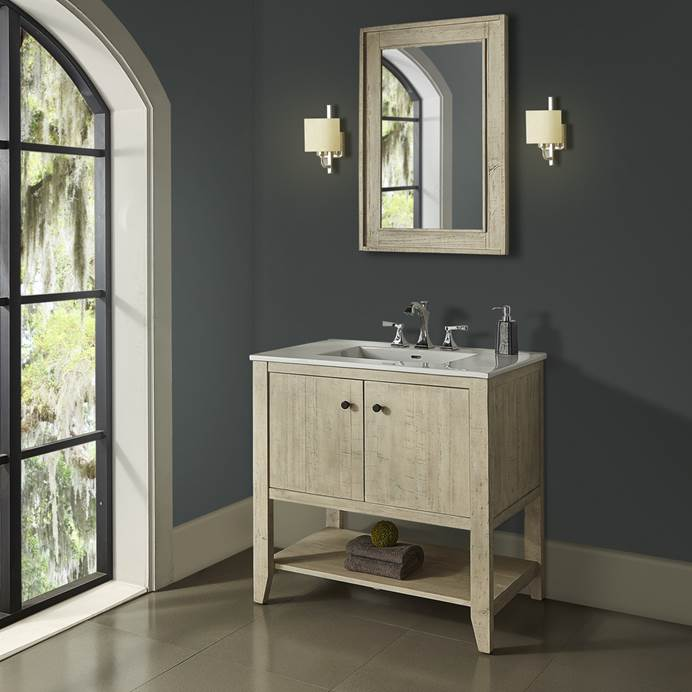 "Fairmont Designs River View 36"" Open Shelf Vanity for Integrated Top - Toasted Almond 1515-VH36-"