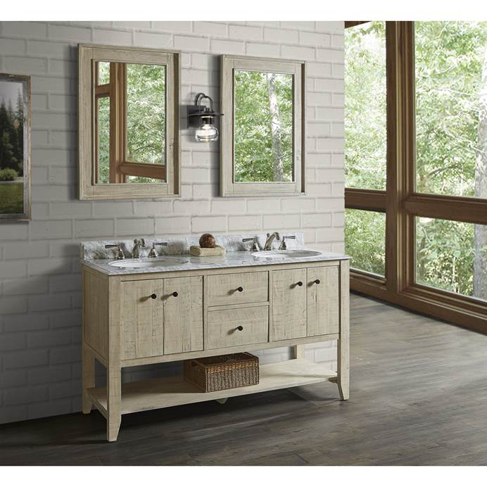 "Fairmont Designs River View 60"" Double Bowl Open Shelf Vanity for Undermount Oval Top - Toasted Almond 1515-VH6021D_"