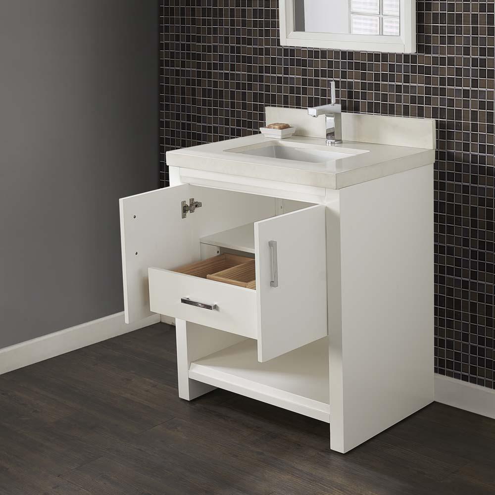 Fairmont Designs Studio One 30quot; Vanity  Glossy White  Free Shipping  Modern Bathroom