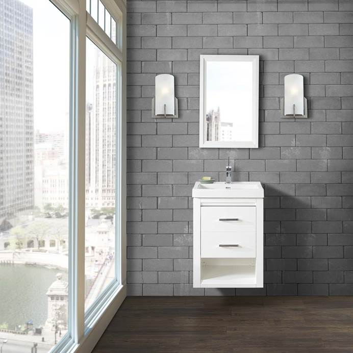 "Fairmont Designs Studio One 21x18"" Wall Mount Vanity - Glossy White 1517-WV2118"