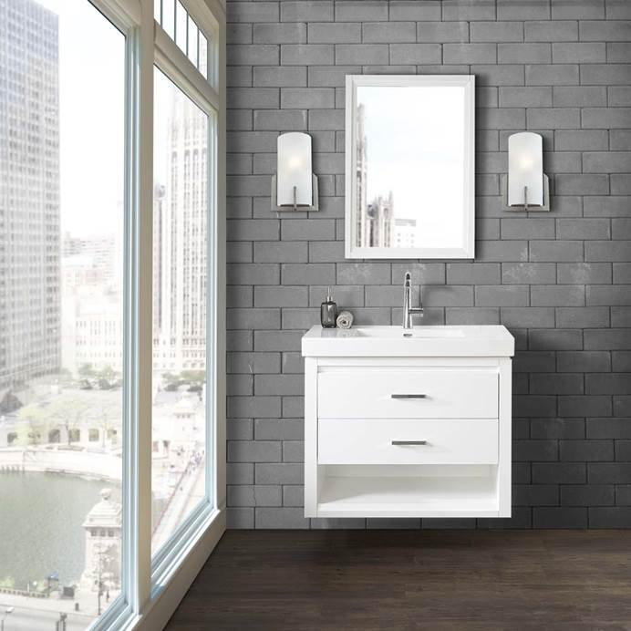 "Fairmont Designs Studio One 36x18"" Wall Mount Vanity - Glossy White 1517-WV3618"