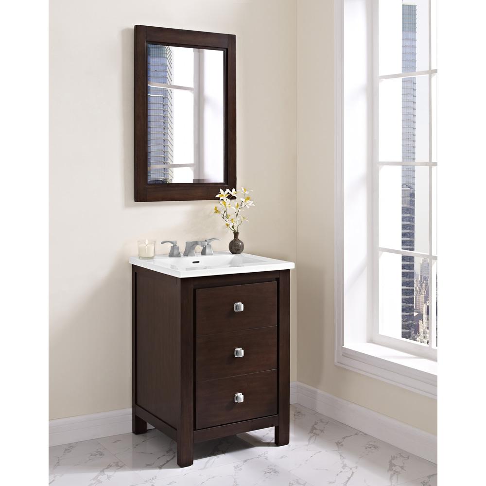 Fairmont designs uptown 24 vanity for integrated sinktop for Espresso vanity bathroom ideas