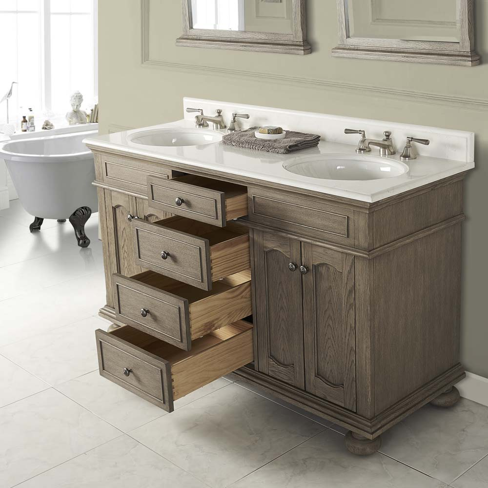 "Fairmont Designs Oakhurst 60"" Double Bowl Vanity For Undermount Oval - Antique Grey"