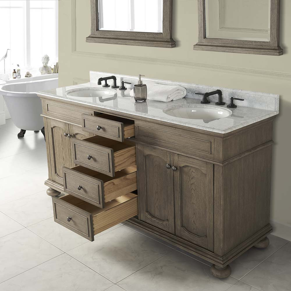 Fairmont Designs Oakhurst 72 Quot Double Bowl Vanity For Undermount Oval Antique Grey Free