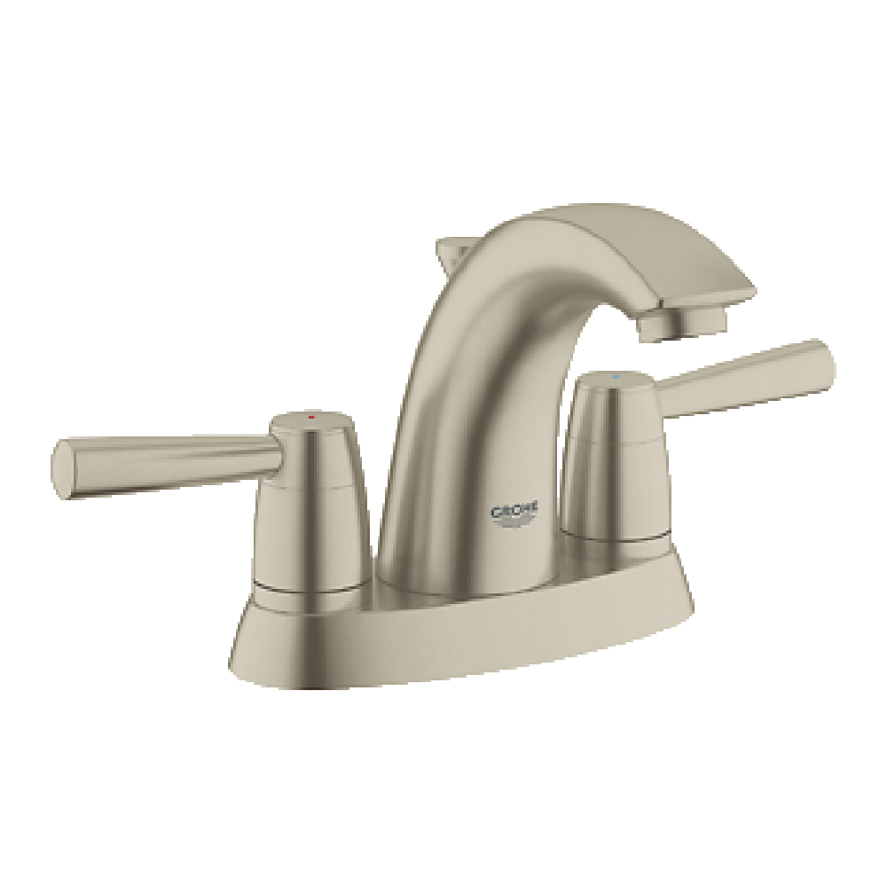 Grohe arden 4 lavatory centerset brushed nickel free for Modern bathroom fixtures