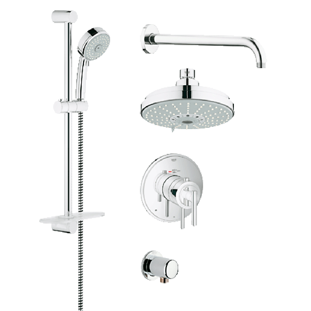 grohe atrio grohflex bath and shower set with thermostat. Black Bedroom Furniture Sets. Home Design Ideas