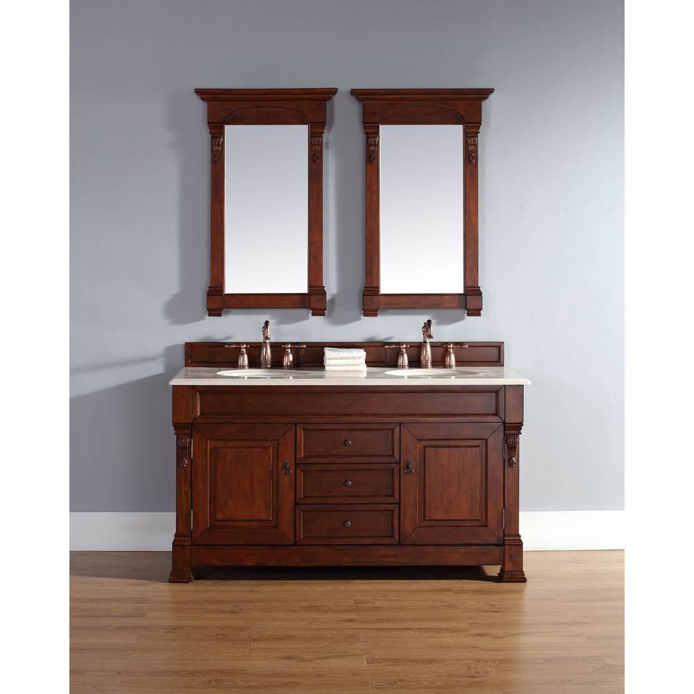James Martin 60 Brookfield Double Vanity Warm Cherry Free Shipping Modern Bathroom
