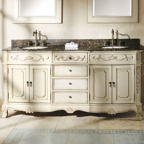James Martin 72 Naples Double Vanity, Antique White Bathroom Cabinets