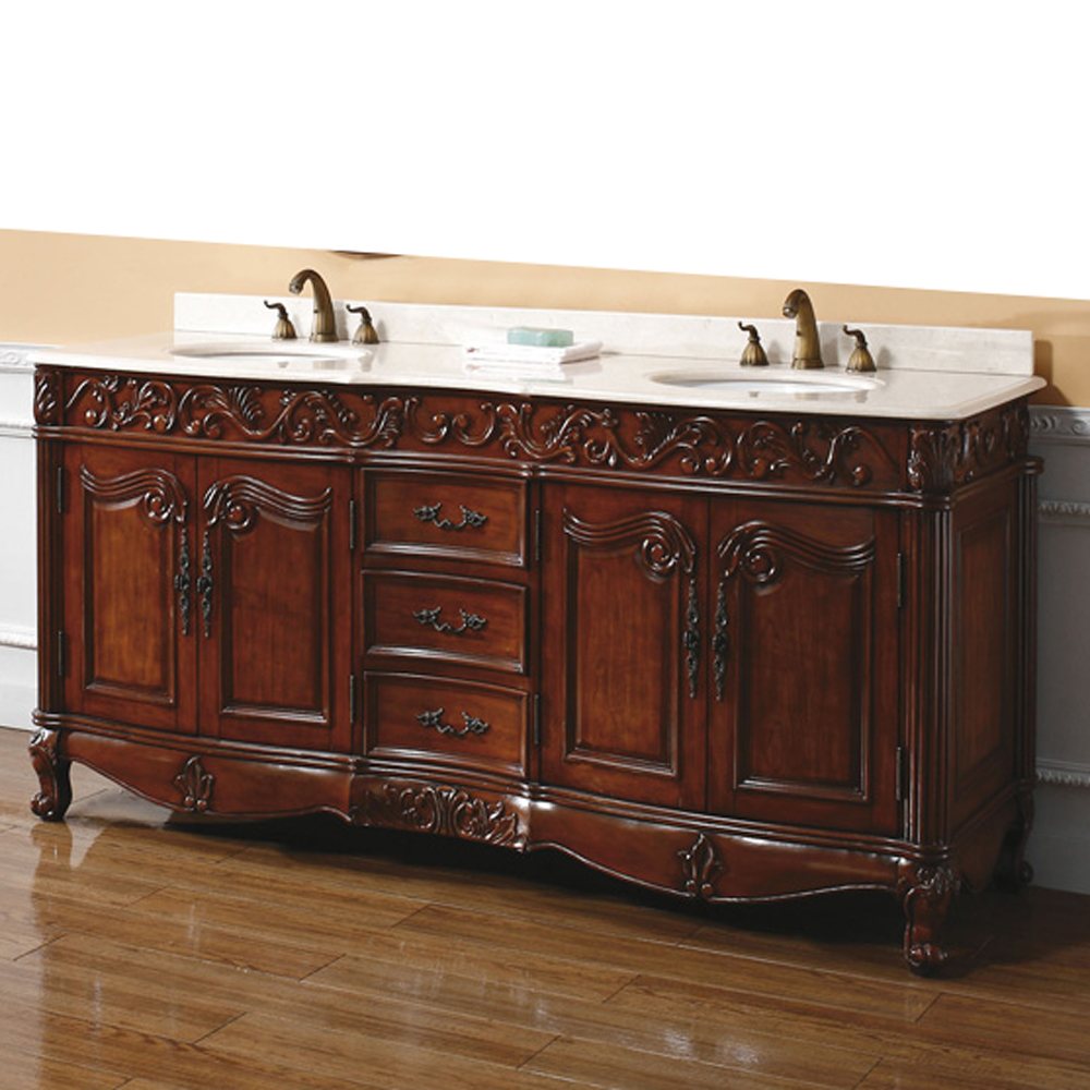 James Martin 72 Quot Embassy Double Marble Top Vanity Dark Cherry Free Shipping Modern Bathroom