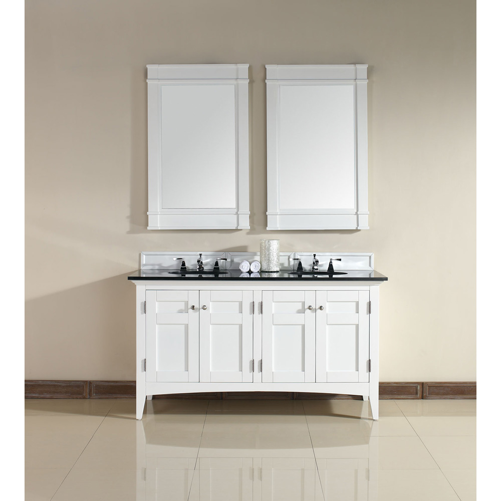 James martin 60 north hampton double vanity with absolute black top white free shipping Modern bathroom north hollywood