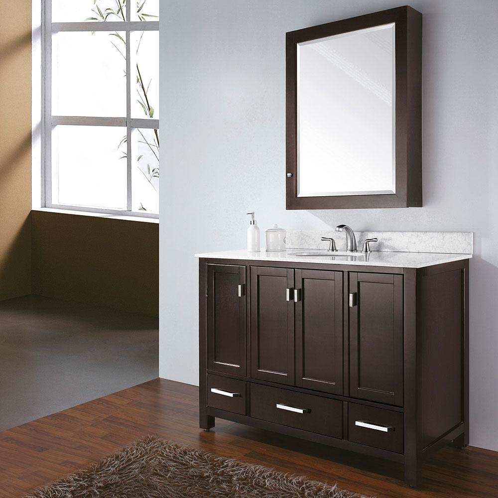 Avanity modero 48 single bathroom vanity espresso for Espresso bathroom ideas