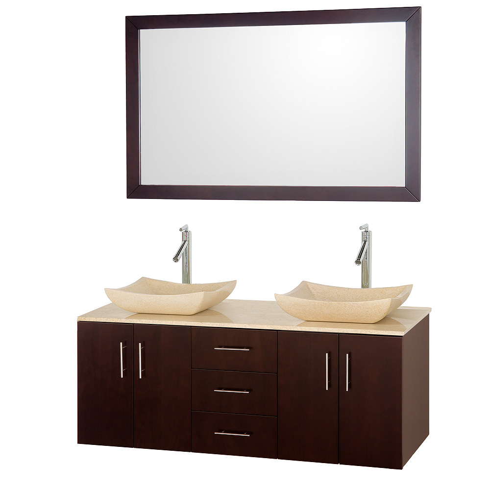 arrano 55 double bathroom vanity set with vessel sinks by wyndham collection espresso free. Black Bedroom Furniture Sets. Home Design Ideas